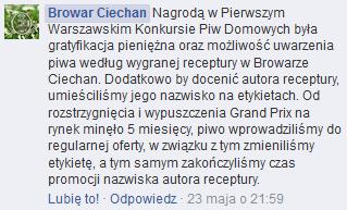 Uzasadnienie zmiany etykiety zprofilu facebook browaru CIechan