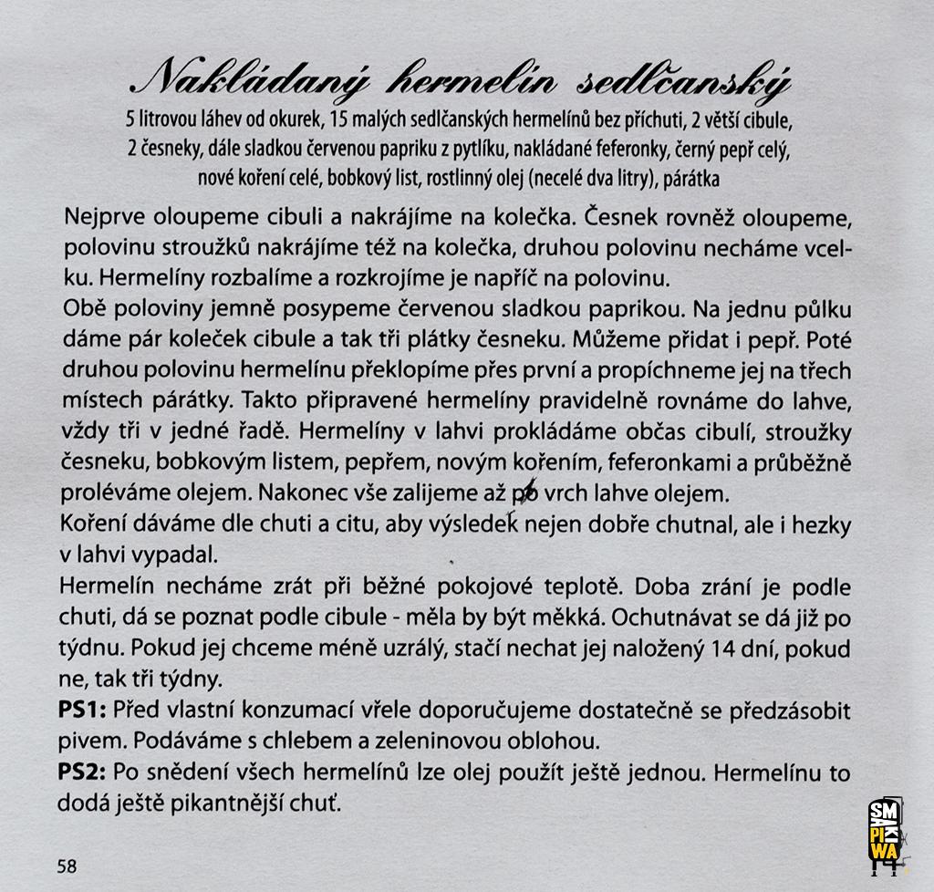 """Oryginalny czeski przepis nanakládaný'ego hermelína zksiążki """"Hornická kuchařka zOstravska"""". Dzięki uprzejmości Pawła Leszczyńskiego."""