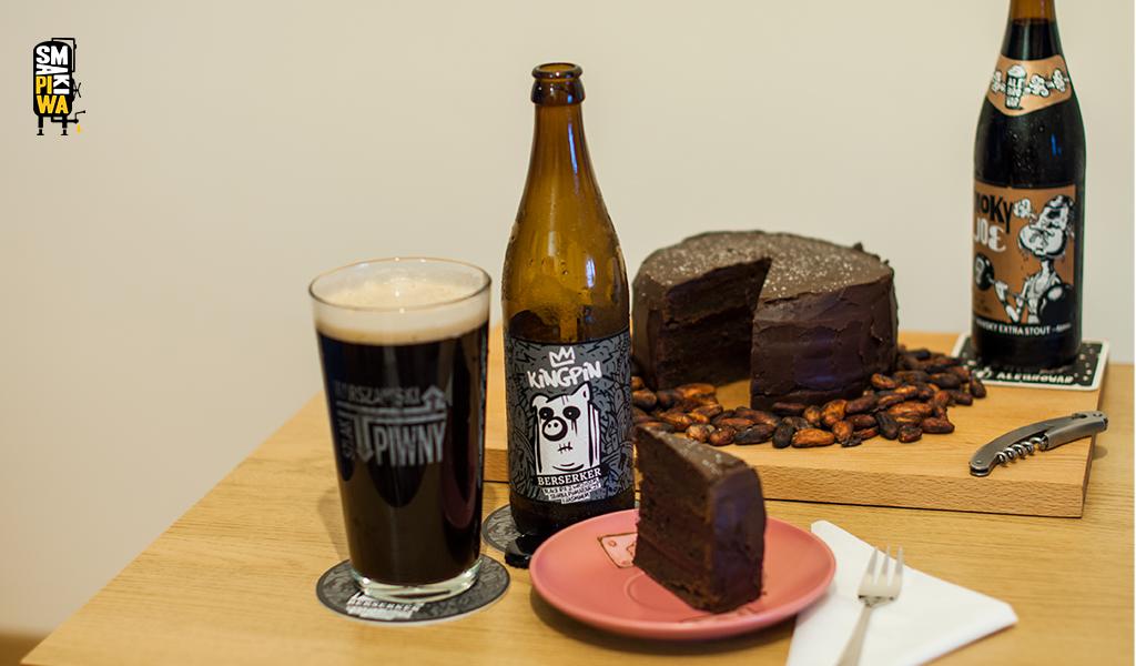 Tort czekoladowy idowyboru aromatyczna Black IPA zbrowaru KingPin lub torfowy stout zAleBrowaru