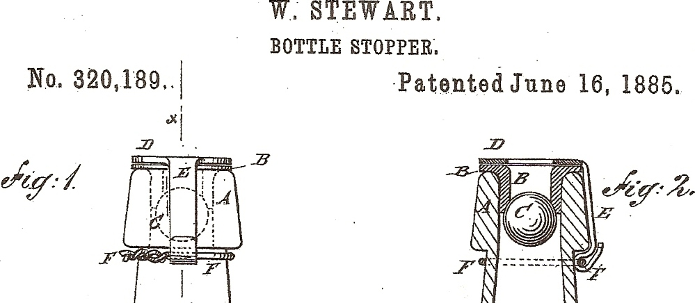 Patent nasamozamykającą się butelkę nawodę mineralną W. Stewarta z1885 roku.