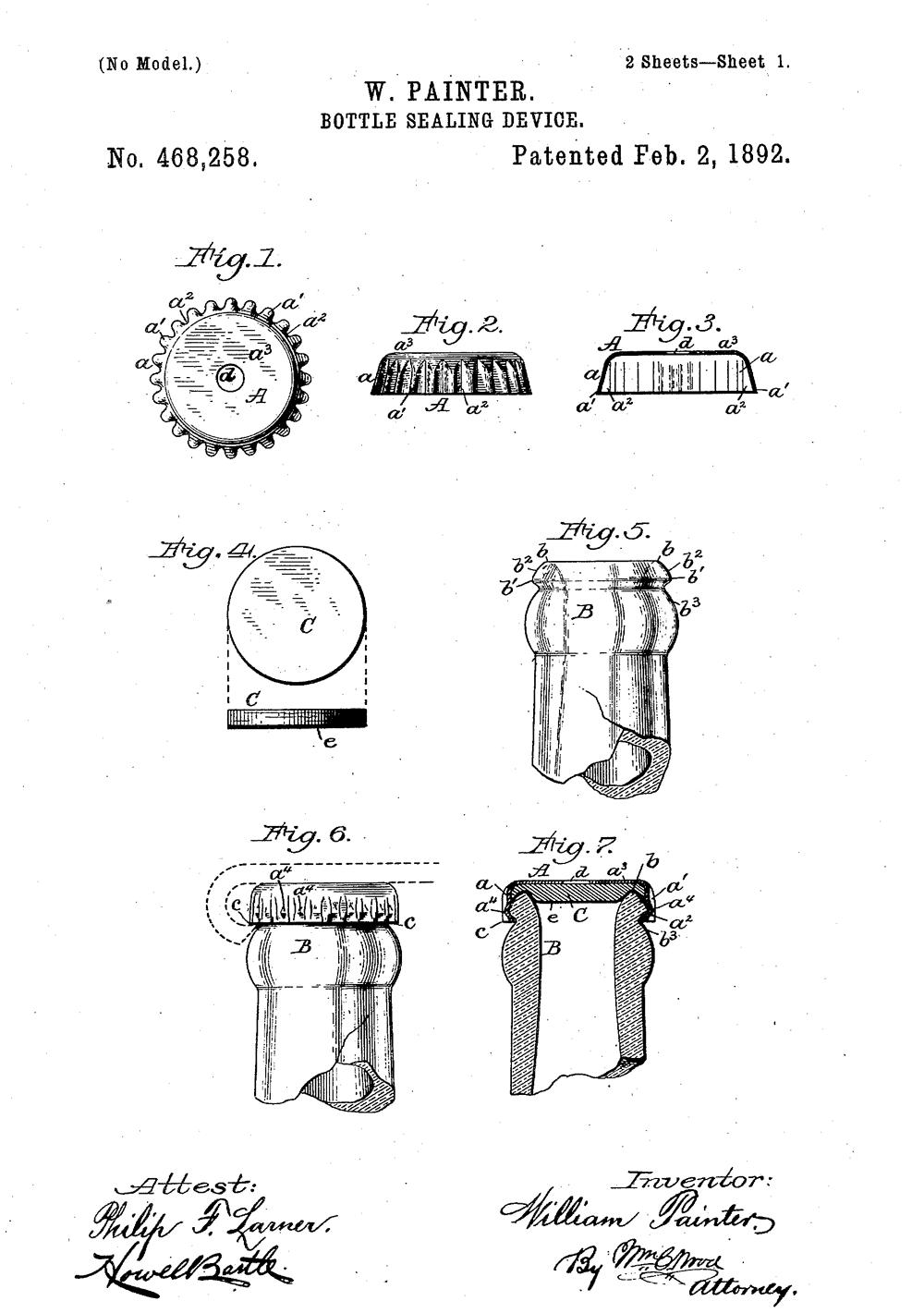 Ilustracja patentu Wiliama Paintera nakapsel o24 ząbkach