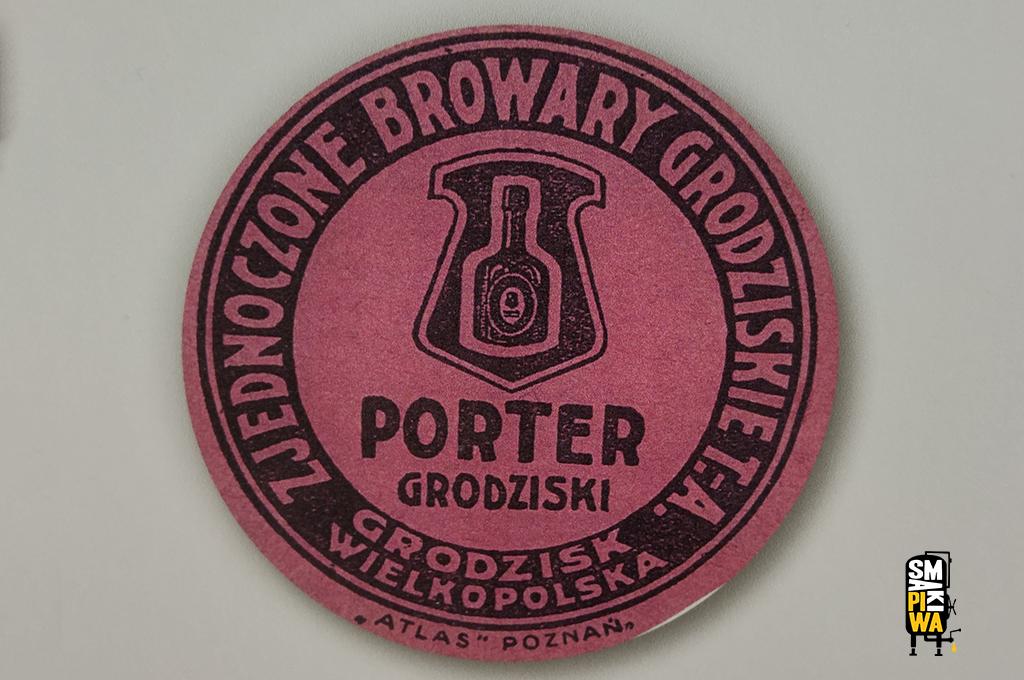 Porter Grodziski - etykieta, prawdopodobnie z lat '30 XX wieku. Warzony w Zjednoczonych Browarach Grodziskich T.A. Etykietę wydrukowała drukarnia Atlas z Poznania