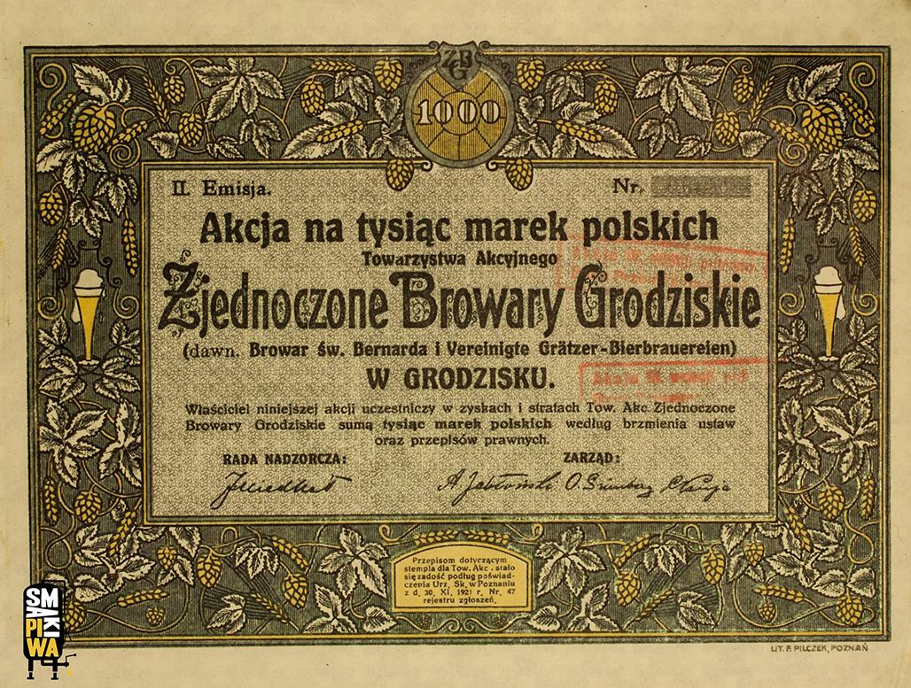 Akcja Towarzystwa Akcyjnego Zjednoczonych Browarów Grodziskich z okresu międzywojennego