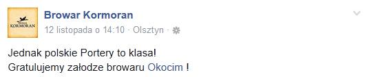 Kormoran gratuluje Okocimiowi