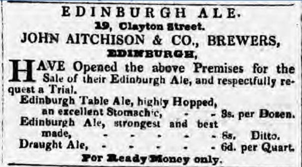 Reklama icennik piwa Edinburgh Alezbrowaru Aitchison z1840 roku. (Newcastle Courant, 17.04.1840). Źródło: http://barclayperkins.blogspot.com