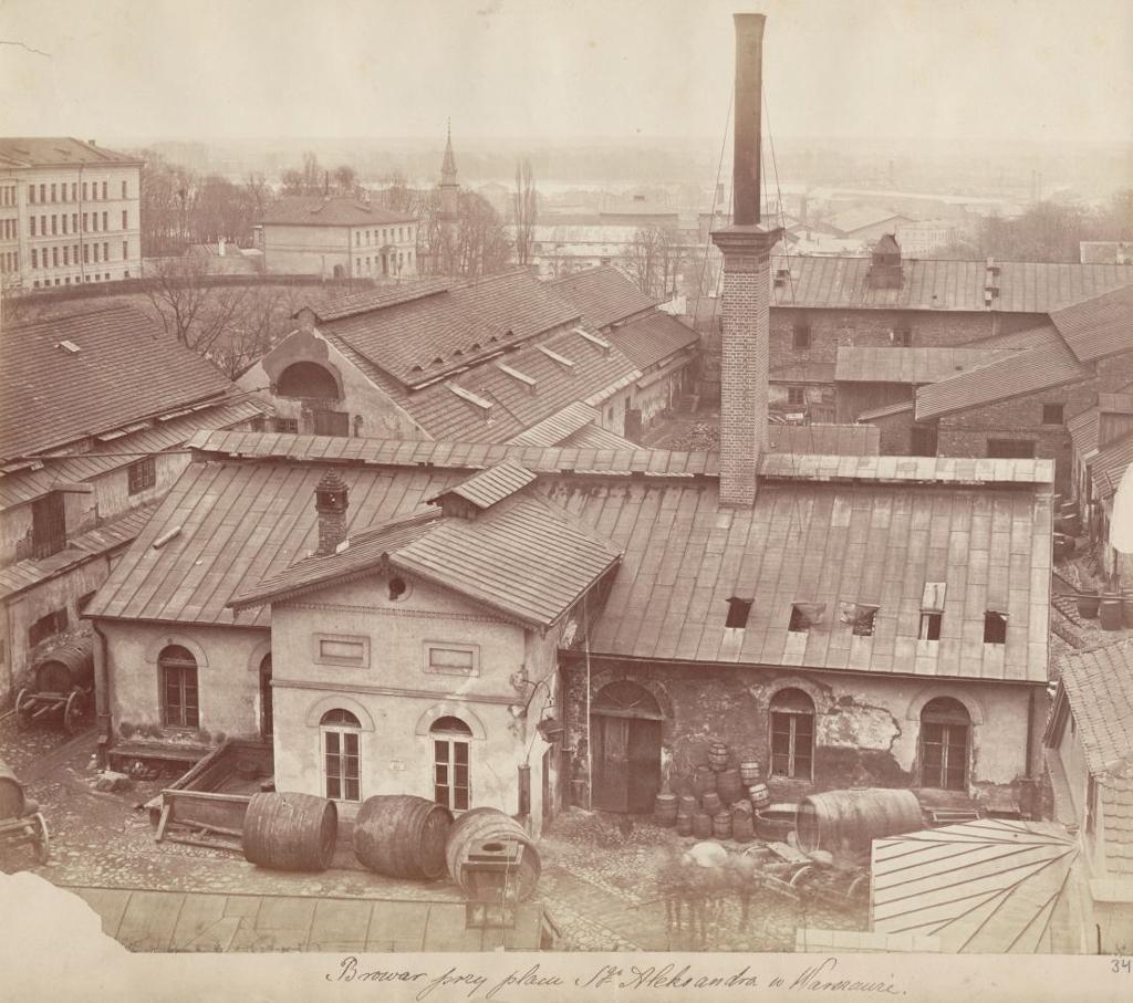 Browar parowy Seweryna Junga, dawniej Naimskiego, przy placu św.Aleksandra (Plac Trzech Krzyży) około 1880 roku. Źródło: Mazowiecka Biblioteka Cyfrowa / http://mbc.cyfrowemazowsze.pl