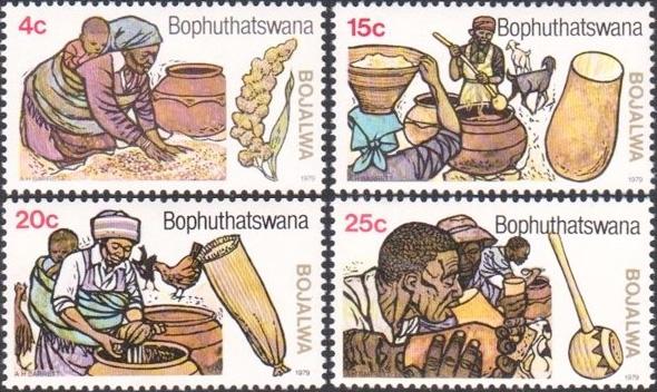 Tradycyjny proces przygotowania piwa. Bophuthatswana, 1979 (stampcommunity.org)