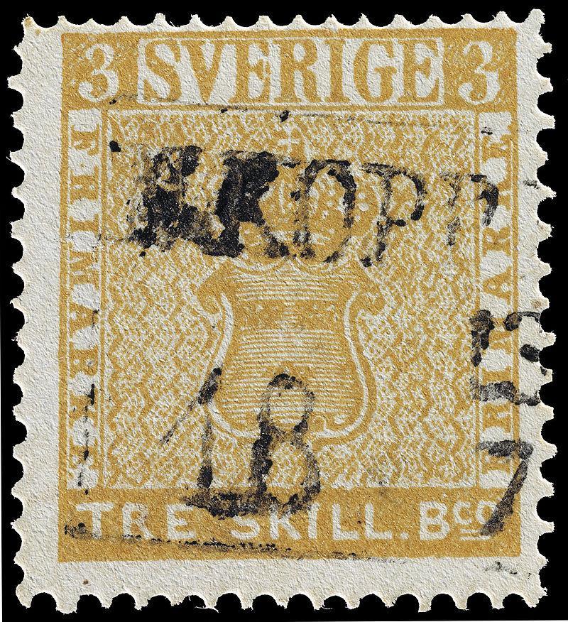 Treskilling Yellow. Szwecja 1855. (źródło: wikipedia.org)