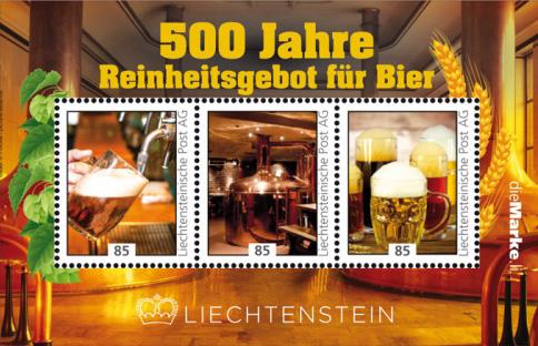 500 lecie Reinheitsgebot. Liechtenstein 2016. (źródło: briefmarken-sieger.de)