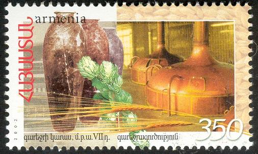 Piwowarstwo, VII wiek p.n.e. vs współczesność. Armenia, 2002. (źródło wnsstamps.post)