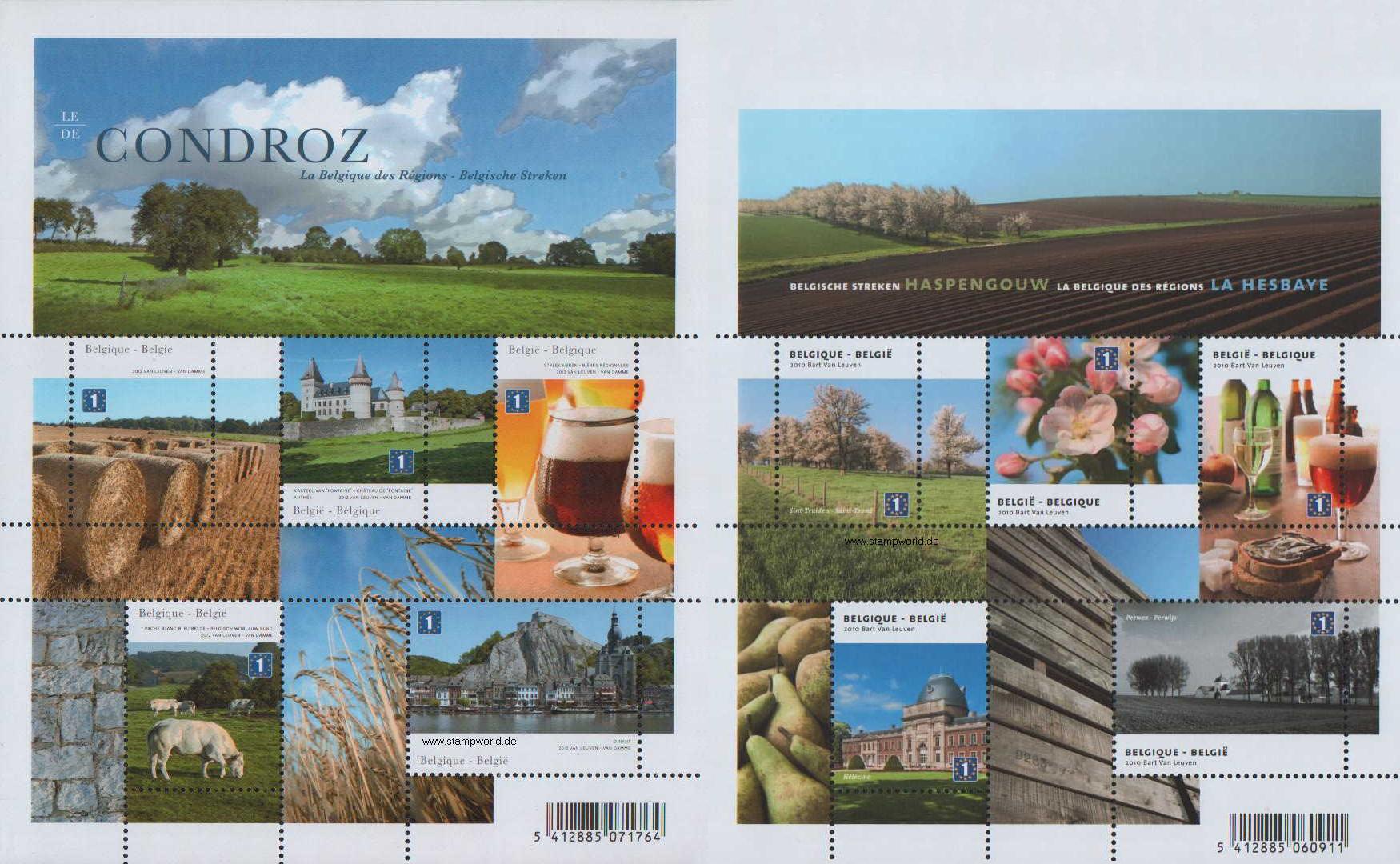 Dwa bloki promujące naturalne regiony Belgii: Condroz iHesbaye. Belgia, 2012. (źródło:stampworld.de)