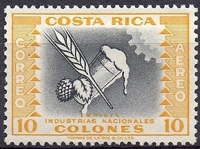 Piwo - Przemysł narodowy. Kostaryka, 1954 (źródło: stampcommunity.org)