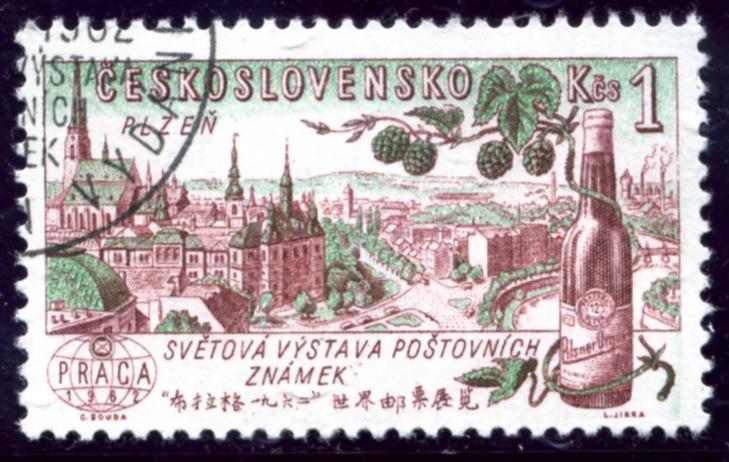 Znaczek promujący Światową Wystawę Filatelistyczną wPradze w1962 roku. Pilzno. Pilsner Urquel. Czechosłowacja 1961 (źródło: agrarphilatelie.de)