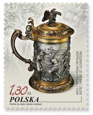 """Barbarkowy kufel gdański naznaczku serii """"Przedmioty zesrebra izłota"""". Rok 2006. (źródło: kzp.pl)"""