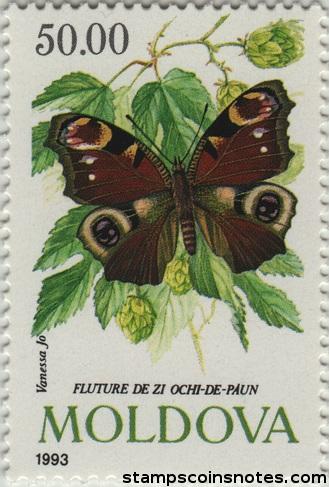 Motyl (rusałka pawik) nachmielu. Mołdawia, 1993. (źródło: stampscoinsnotes.com)
