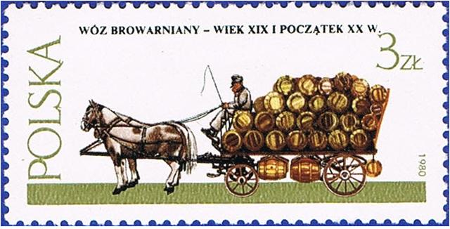 Wóz browarniany, znaczek zserii Warszawskie pojazdy konne. 1980 rok (źródło własne)